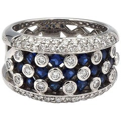 Sapphire and White Diamond Ring in 14K White Gold