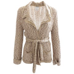 Chanel Boucle Knit Cardigan Sweater with Belt Oatmeal Tan 06P Collection Sz 44