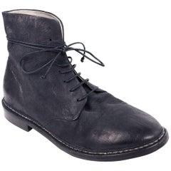 Marsell Mens Smoke Black Worn Leather Grupiatta Combat Boots