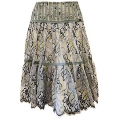 Charming Chanel Lace in Grey, Black and Green Floral Print 3 Tier Pleated Skirt