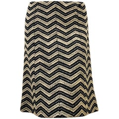 Chanel Wool Blend Black/White and Silver Tone Threads Chevron A line Skirt