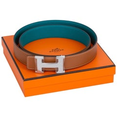 New in Box Hermes Gold Blue Paon Unisex H Belt
