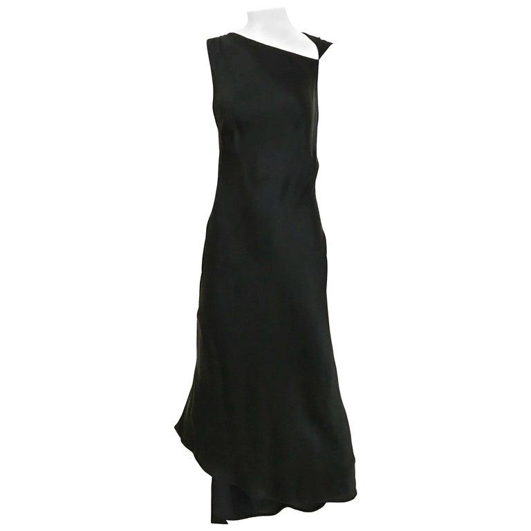 Jil Sander Black Silk Charmeuse Dress