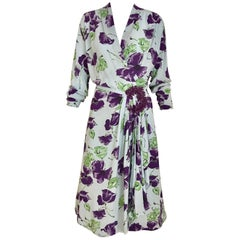 1940s Blue and Purple Floral Print Rayon Dress