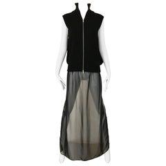 Martin Margiela Black Wool Maxi Cardigan Top