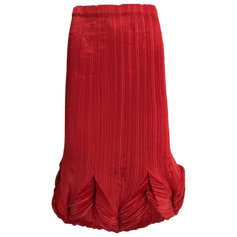 Vintage Issey Miyake Red Pleats Please Skirt