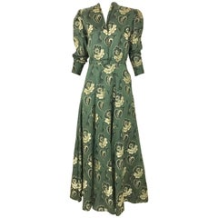 1930s Green Jacquard Floral Print Dress
