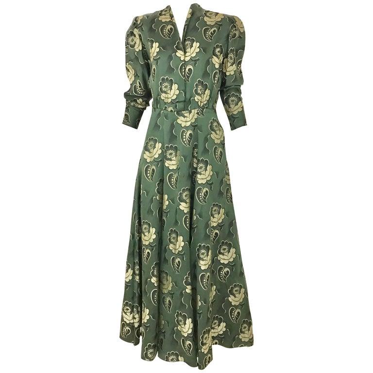 1930s Green Jacquard Floral Print Dress