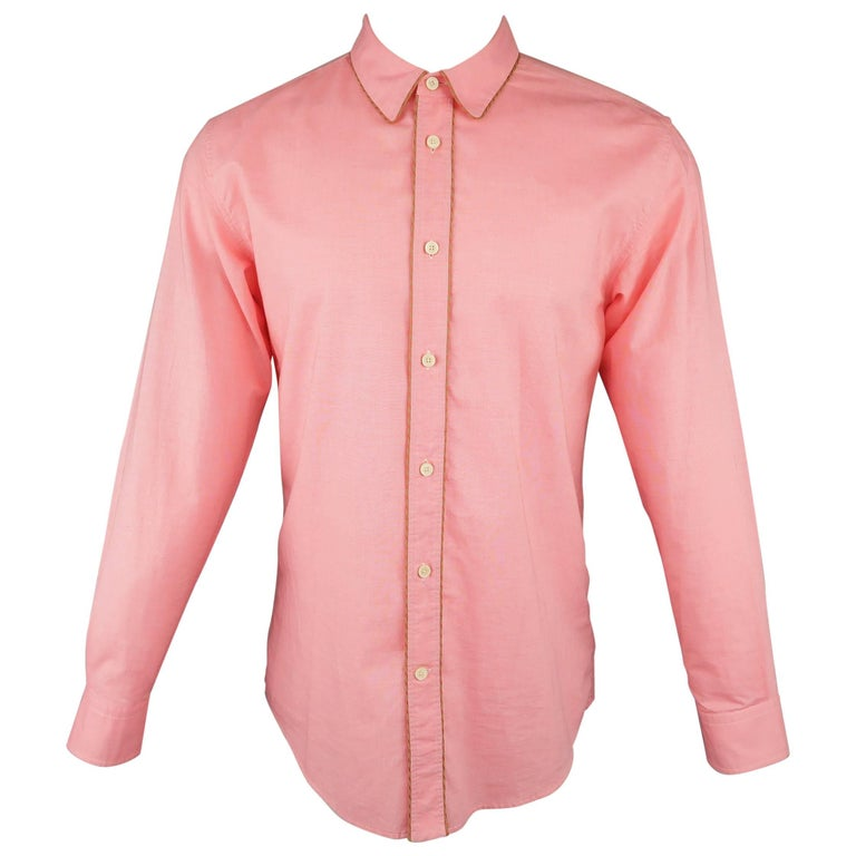 ca689f1d Men's MARC JACOBS Size S Salmon Pink Chambray Shoe Lace Piping Long Sleeve  Shirt For Sale