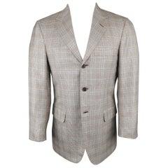 Men's BRIONI 38 Short Brown & Blue Glenplaid Wool / Silk 3 Button Sport Coat