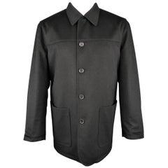Ermenegildo Zegna Men's Black Solid Wool and Cashmere Reversible Car Coat