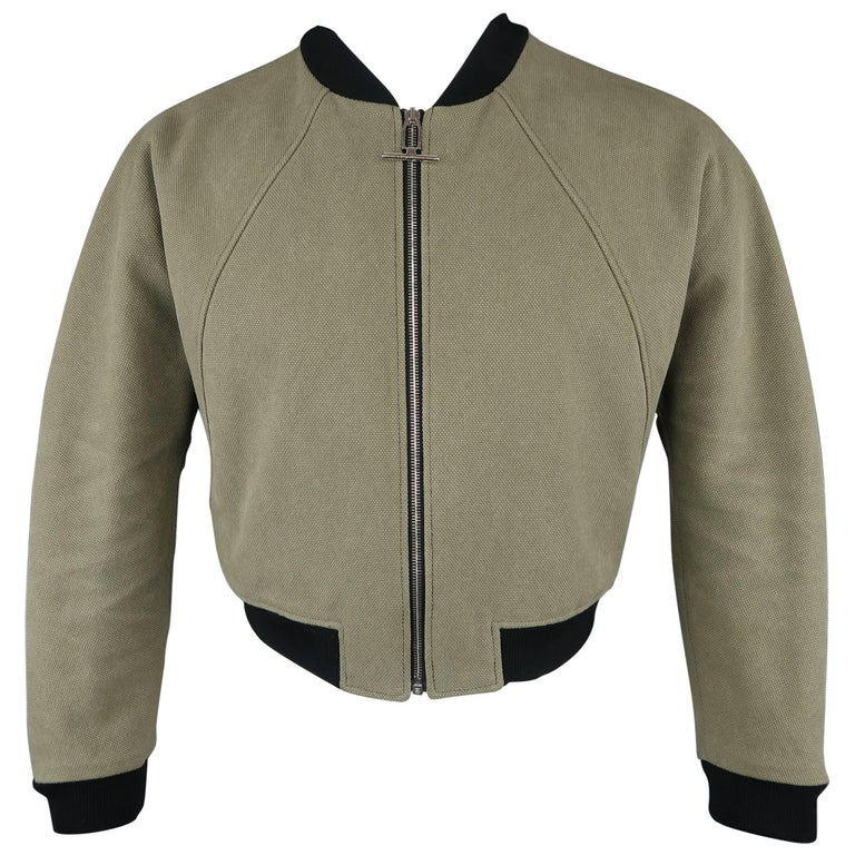 Balenciaga Green Cotton Cropped Cristóbal Bomber Jacket