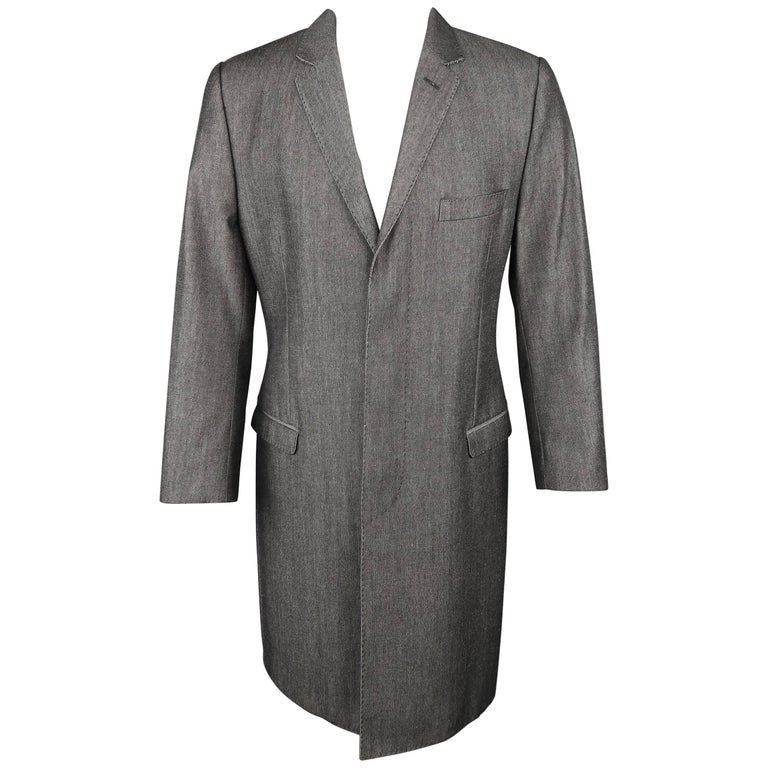 Men's DOLCE & GABBANA 40 Dark Gray Solid Wool / Cotton Denim Hidden Placket Coat