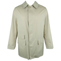 Men's MACKINTOSH 38 Khaki Solid Cotton Collared Rain Coat