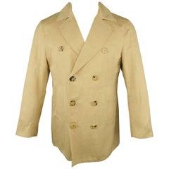 Men's ISAIA 40 Khaki Cotton / Linen Chambray Double Breasted Peacoat Jacket