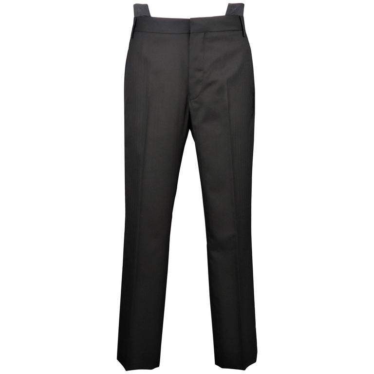 Men's GIVENCHY Size 32 Black Wool Double Cutout Waistband Dress Pants