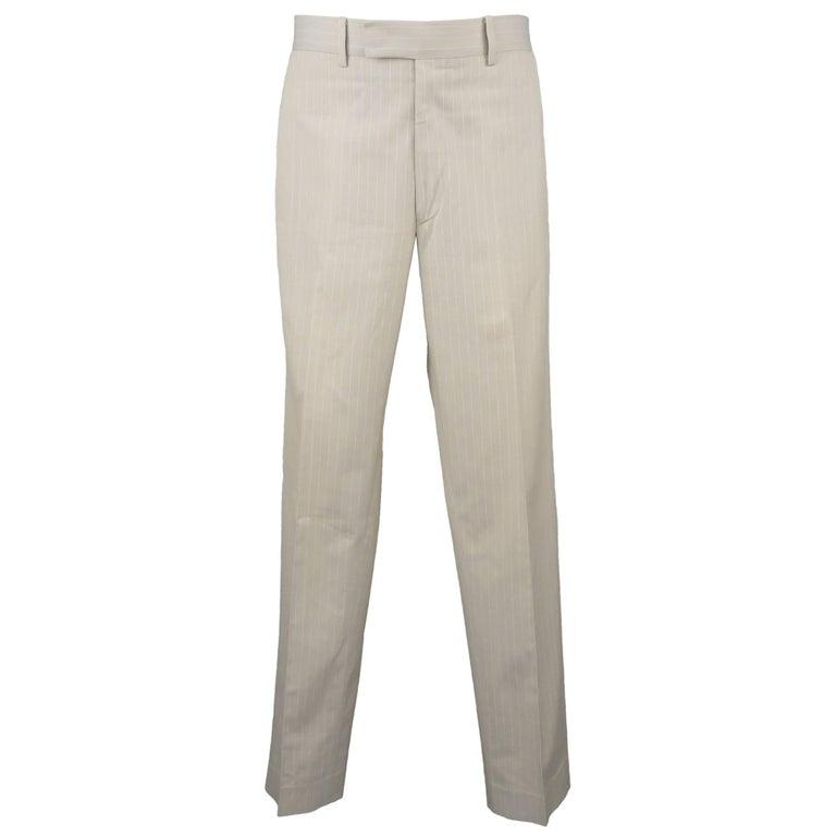 Men's HERMES Size 32 Khaki Pintripe Cotton Dress Pants