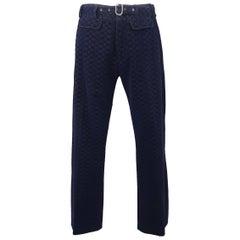 Men's ROBERTO CAVALLI Size 32 Navy Printed Velvet Belted Dress Pants