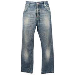 Men's KITON Size 34 Blue Dirty Wash Selvedge Denim Jeans