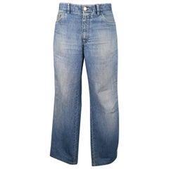 Men's BRIONI Size 34 Blue Light Dirty Washed Denim Straight Leg Jeans