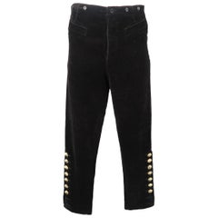 Jean Paul Gaultier Men's Black Corduroy Bull Head Button Dress Pants