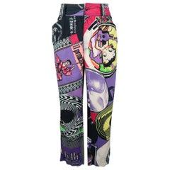 GIANNI VERSACE Size 32 Betty Boop Elvis Pop Art Print Cotton Casual Pants