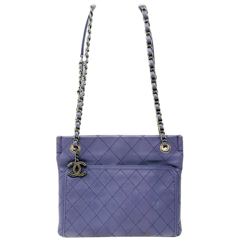 Purple Chanel Flat Quilted Classic Crossbody