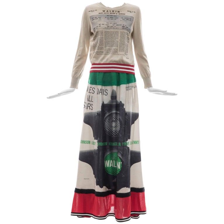 Jun Takahashi Undercover Silk Cotton Miles Davis Print Skirt Suit, Spring 2017 For Sale