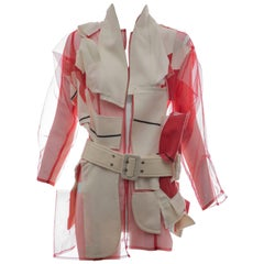 Comme des Garcons Deconstructed Red Mesh Jacket Cream Wool Patchwork,Spring 2007
