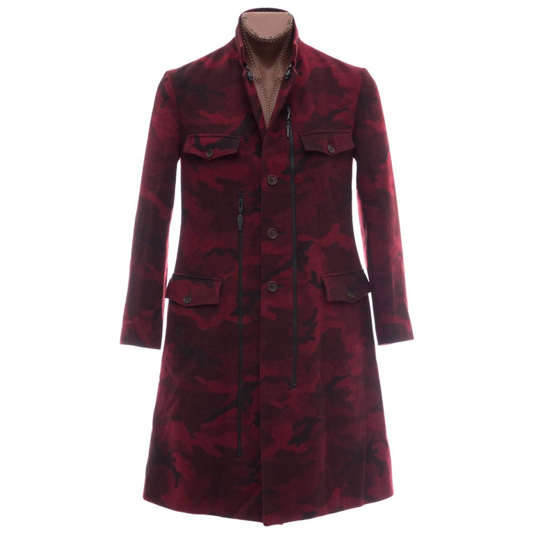 Yohji Yamamoto Pour Homme Wool Camouflage Chesterfield Coat, Fall 2014 For Sale