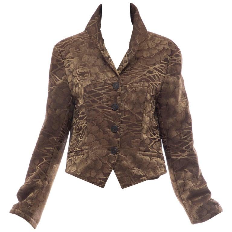 Dries Van Noten Runway Silk Floral Metallic Button Front Jacket, Fall 2003 For Sale