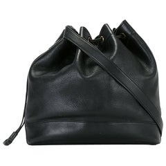 Hermes Black Leather Market Bucket Bag