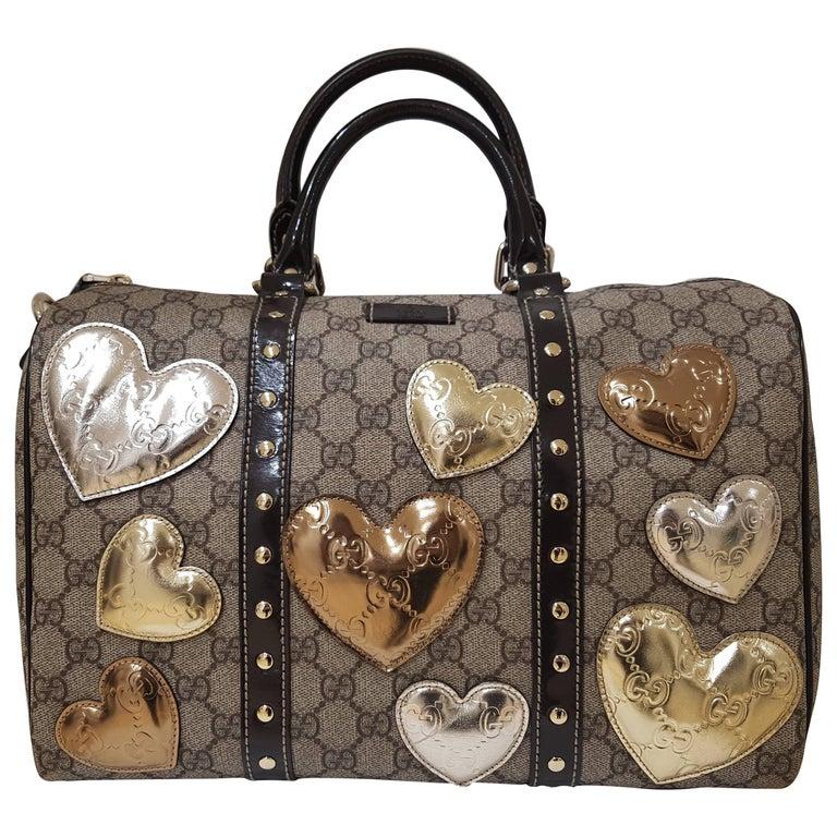 Gucci GG Monogram Silver Gold Heart tote bag