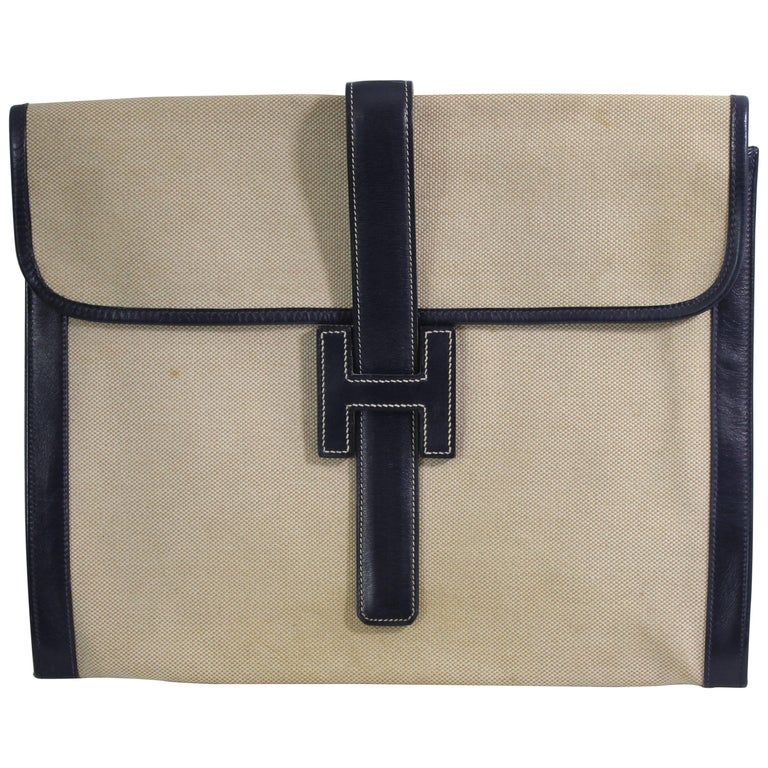 1976 Vintage Hermes Jige GM Clutch in Canvas and Leather.