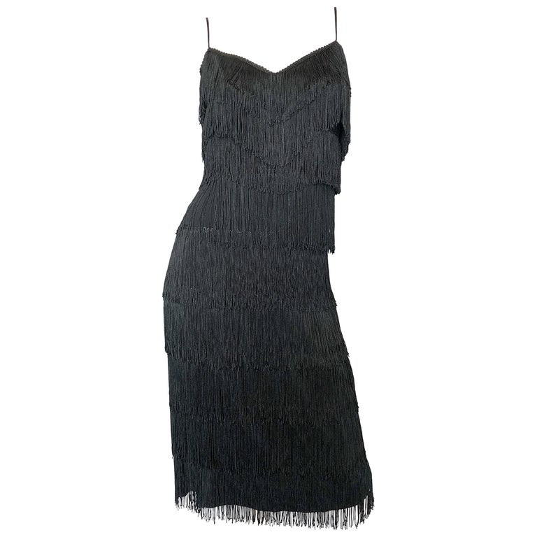 1960s Lilli Diamond Black Fully Fringed Vintage Flapper Style Cocktail Dress