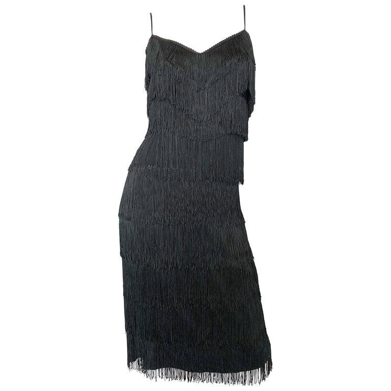 1970s Lilli Diamond Black Fully Fringed Vintage Flapper Style 70s Cocktail Dress For Sale