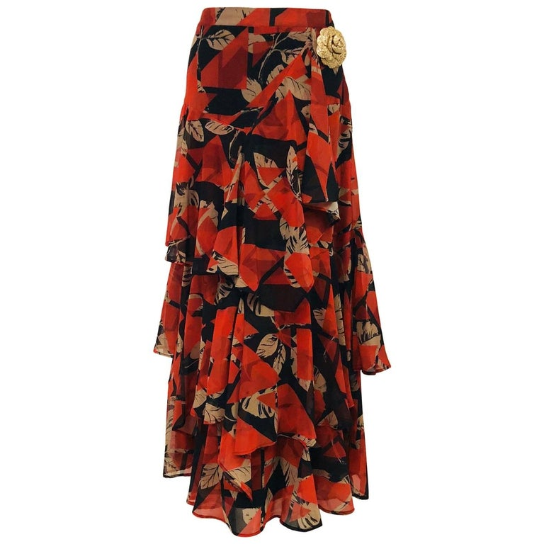 Chanel Black & Terracotta Long Ruffle Layered Cotton Skirt