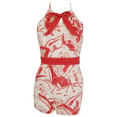 1930's Sandeze Sportswear Novelty Print Linen Backless Halter Playsuit & Jacket