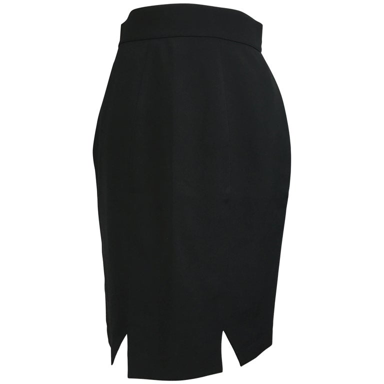 Thierry Mugler 1980s Black Wool Pencil Skirt Size 6.