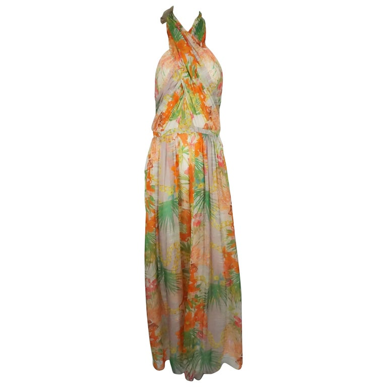 Matthew Williamson Multi Silk Chiffon Floral Print Halter Jumper