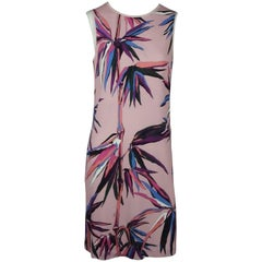 Emilio Pucci Pink and Multi Print Sleeveless Silk Shift Dress - 6