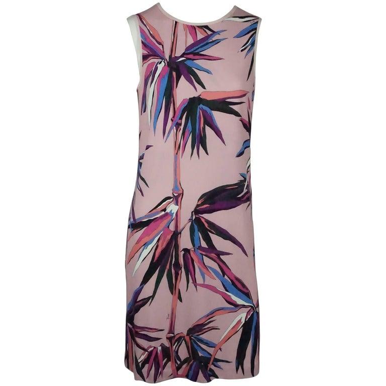 Emilio Pucci Pink and Multi Print Sleeveless Silk Shift Dress - 6