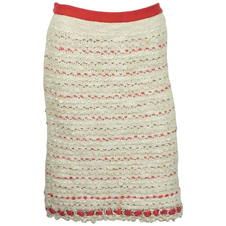 Chanel Cream and Red Silk Knit Skirt  - 38 - 06P