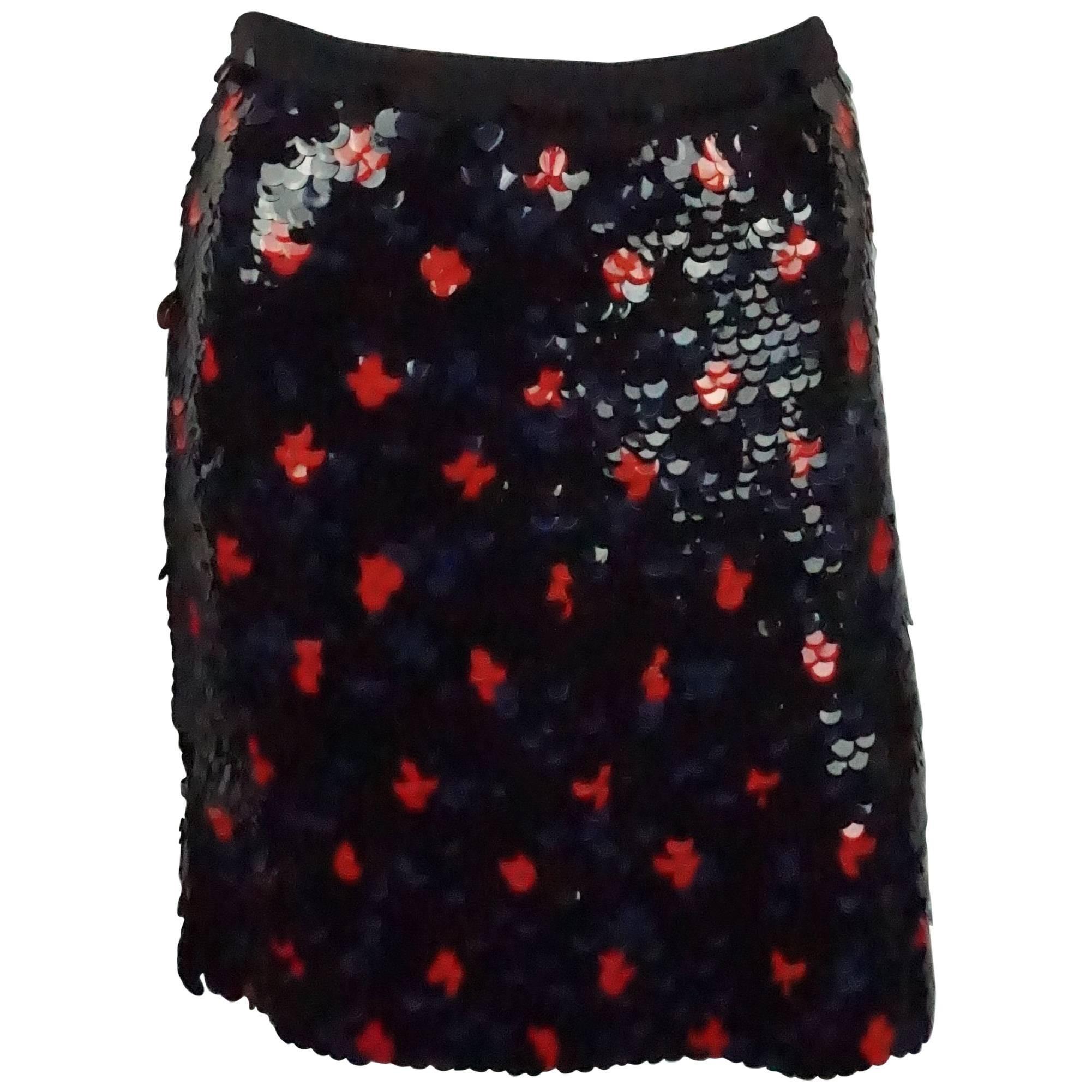 Derek Lam Navy and Red Paillete Skirt