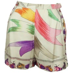 "Emilio Pucci Ivory and Multi ""Gowns"" Silk Print Shorts - Small - Circa 60's"