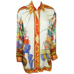"Leonard Custom Multi  Print ""Ships"" Silk Shirt - Large"