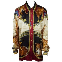 Gianni Versace Couture Multi Silk Animal Theme Long Sleeve Shirt - Large