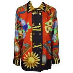 Leonard Multi Silk Clocks Long sleeve Shirt - Medium - Circa 80's