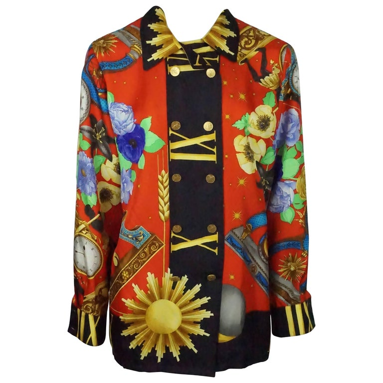 Leonard Multi Silk Clocks Long sleeve Shirt - Medium - Circa 80's