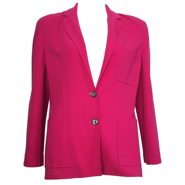 Celine Pink Wool Jacket with Pockets Size 8.